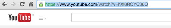 selezionare indirizzo web canzone youtube